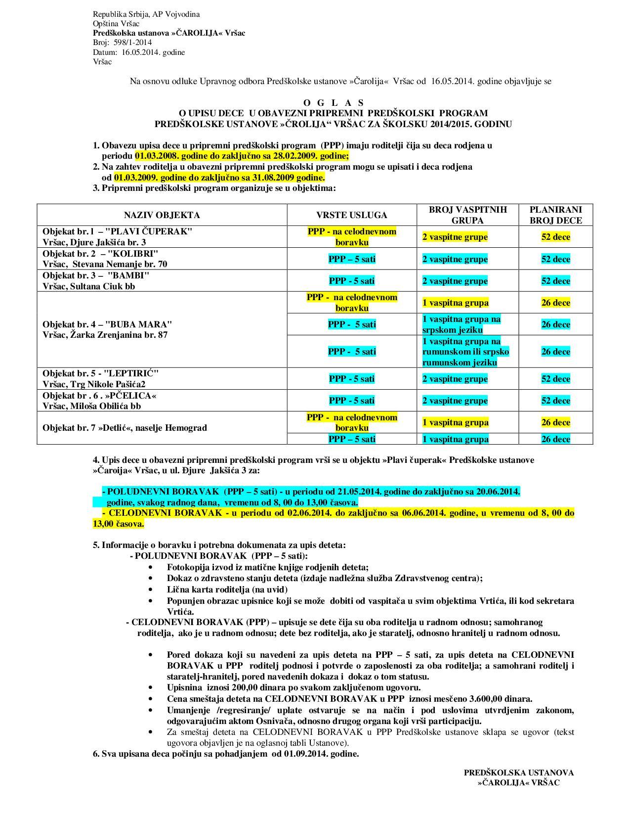Oglas o upisu dece na za sk 2014 2015 godinu - PPP-001