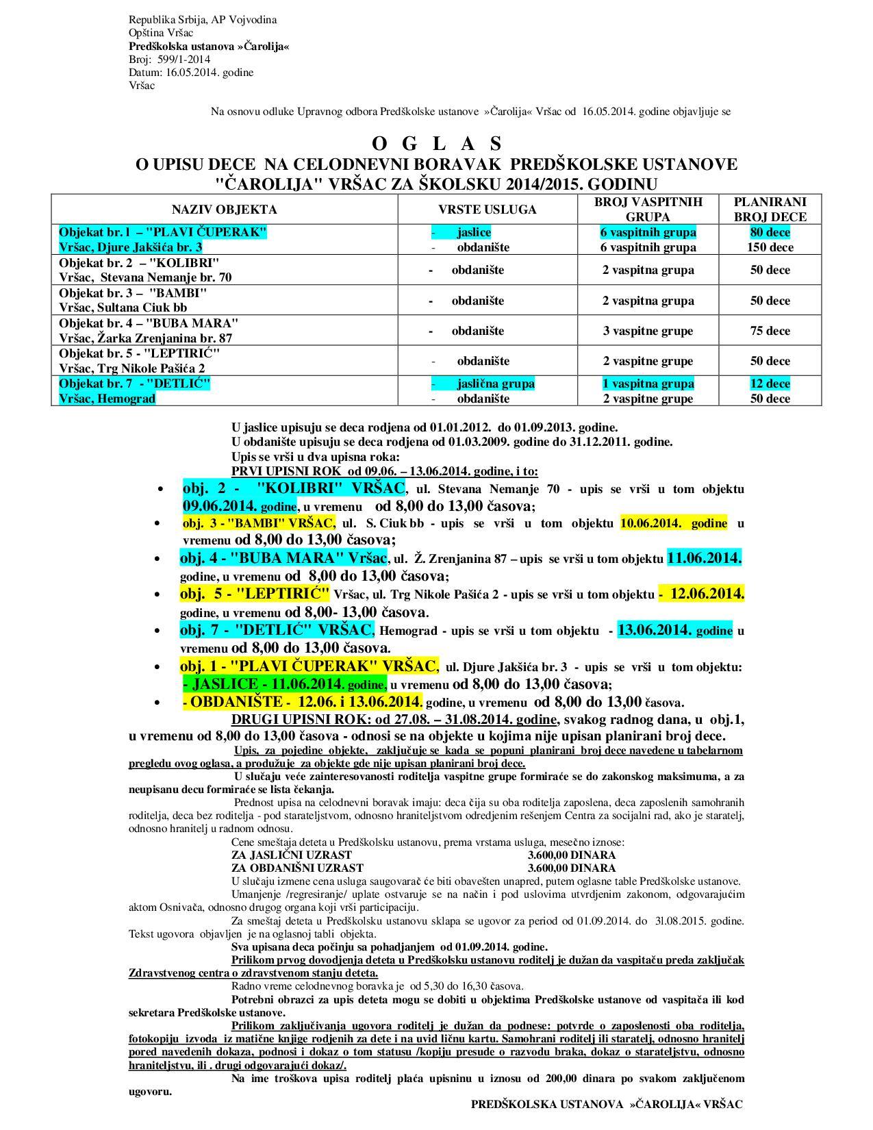 Oglas o upisu dece za sk 2014 2015 godinu - CELODNEVNI B-001