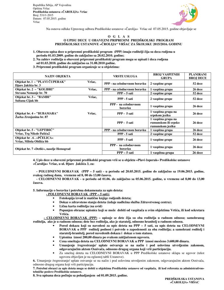 Oglas o upisu dece na PPP 5 sati i PPP 11 sati  za sk 2015 2016 godinu-001